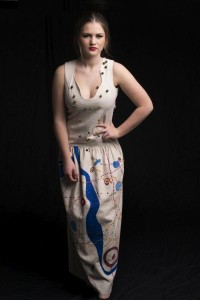 Connected to Land series - dress with stone and Aboriginal artwork